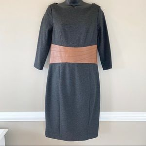 Nue by Shani Gray Sweater Dress with Faux Leather